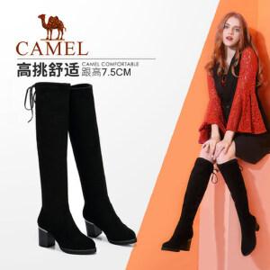 camel/骆驼女鞋2017秋冬季新款性感百搭显瘦长筒高跟长靴高筒女靴过膝靴