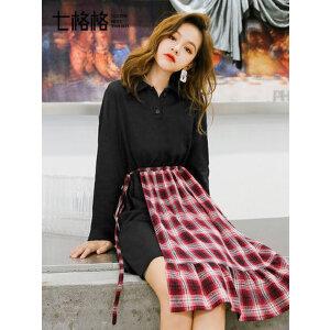 七格格连衣裙2019新款女装春装学生韩版长袖收腰显瘦气质格子裙子