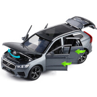 JK 1/32仿真VOLVO沃尔沃XC60越野六开门金属声光回力合金车模玩具