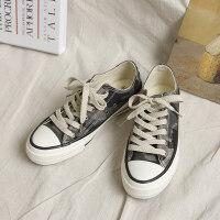 2019春季新款帆布鞋女韩版学生百搭迷彩鞋街拍港风复古板鞋女
