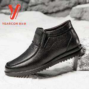 意尔康男鞋保暖真皮棉鞋2017韩版冬季新款男式休闲高帮皮鞋爸爸鞋