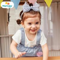 【1件3折】马卡乐童装22夏新款套装可爱卡通背带圆领女宝宝短袖T恤两件套
