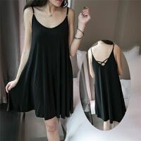 夏季加大码女装莫代尔连衣裙中长款吊带睡衣睡裙 黑色【8751】