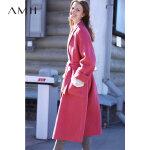 【AMII大牌日 2件4折】Amii极简赫本风双面毛呢外套2018冬宽松中长款阿尔巴卡羊毛大衣女