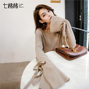 中长针织衫女长袖2017秋冬装季新款甜美韩版宽松杏色学生套头毛衣