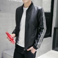 秋季男生皮衣修身韩版潮流帅气秋装休闲条纹棒球服皮夹克男士外套