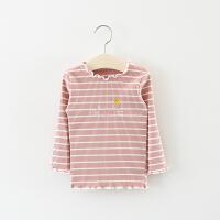童装女童长袖T恤春秋0一1-3岁儿童女宝宝春装卡通条纹打底衫薄款2 粉红色 王冠小猫咪t恤