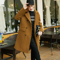 [2.5折价221.4元】唐狮冬装新款毛呢外套女宽松直筒双排扣韩版大衣羊毛呢大衣女
