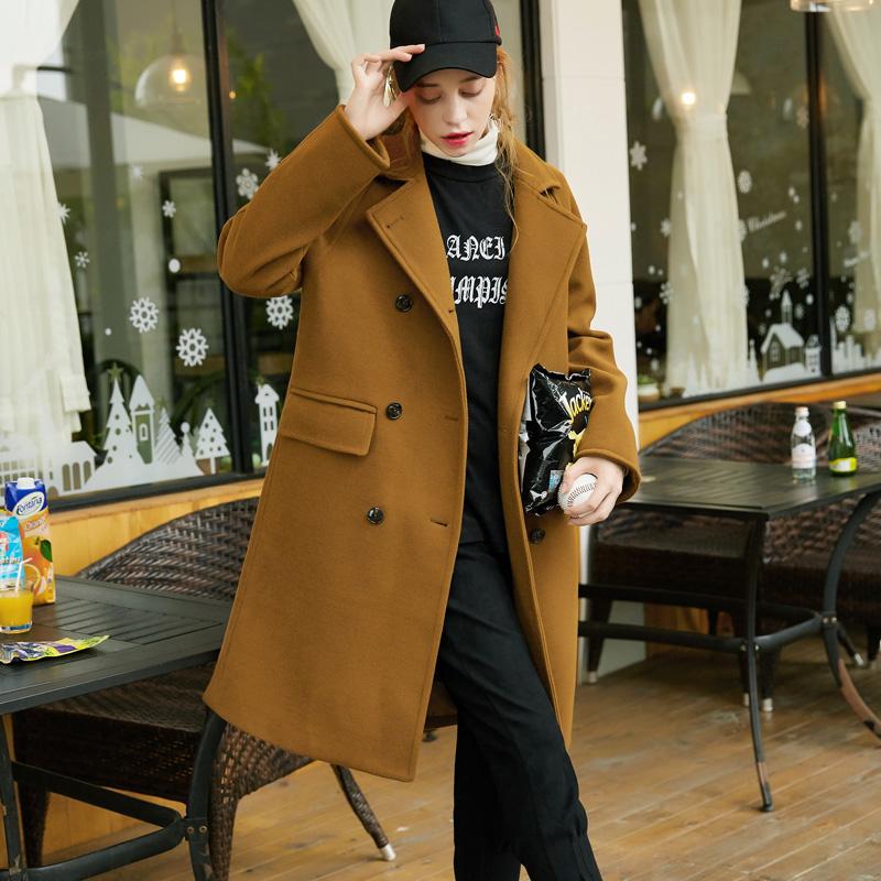 [1折价109.9元]唐狮冬装新款毛呢外套女宽松直筒双排扣韩版大衣羊毛呢大衣女 全场1件1折起叠加300-50,仅限3.3-3.5