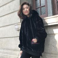 加厚加绒卫衣女套头2018秋冬新款韩版潮学生宽松中长款毛毛茸外套