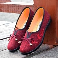 老北京布鞋女单鞋休闲防滑软底浅口透气小码奶奶老人中老年妈妈鞋 红色 801