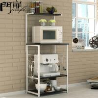 门扉 厨房置物架 整理收纳创意厨房储物架收纳架落地微波架厨房置物架微波炉架多功能厨房 储物架