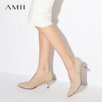 【折后价:176元/再叠加优惠券】Amii[极简主义]时尚同尖头高跟鞋2019春秋裸色V口细跟鞋