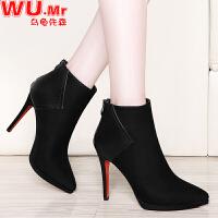 乌龟先森 高跟鞋 女士冬季新款鞋子尖头细跟短靴子女式后拉链韩版时尚百搭学士女鞋