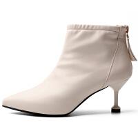 小跟短靴女细跟2018新款春秋季韩版百搭高跟踝靴尖头皮靴中跟靴子