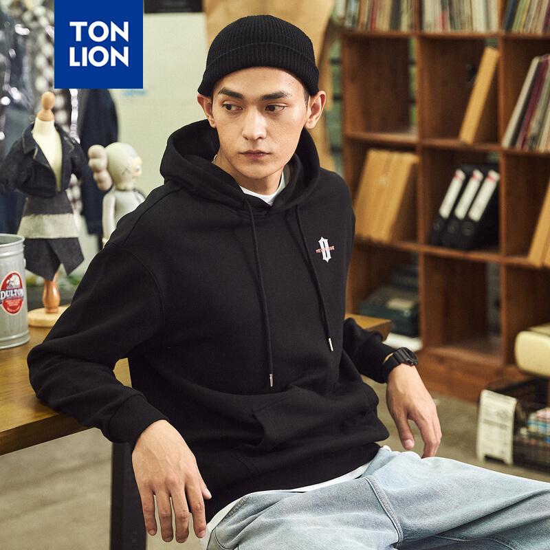 [2.5折价68.9元】唐狮冬新款卫衣男连帽卫衣黑色 2件2.5折