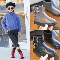 2017儿童靴中大童马丁靴韩版秋冬季新款休闲加绒女童短靴男童靴子