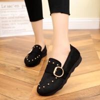 老北京布鞋女鞋单鞋平底豆豆鞋平跟软底孕妇鞋舒适黑色工作鞋