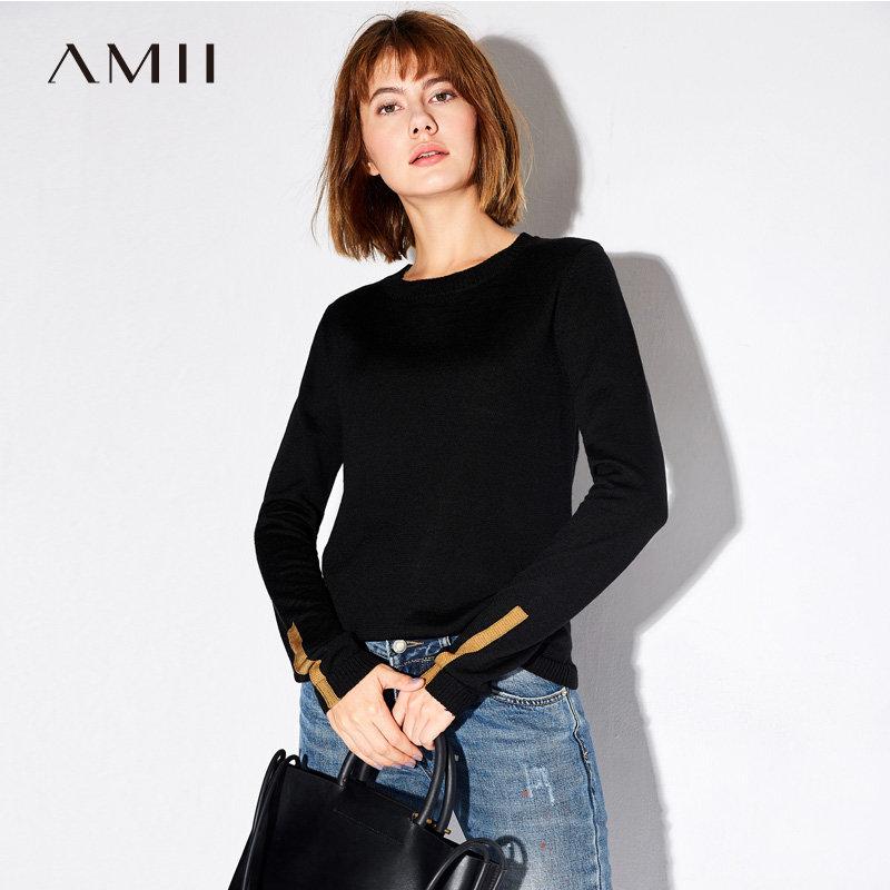 Amii极简韩版时尚圆领套头撞色拼接毛衣女2018秋新款拼接百搭打底.