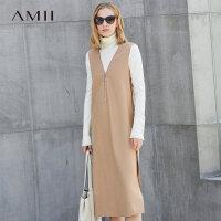 Amii轻雅 无袖羊毛呢连衣裙女 冬装新V领拉链裙子.