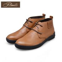 宾度男鞋系带高帮鞋平跟休闲潮鞋英伦男士高帮皮鞋头层皮
