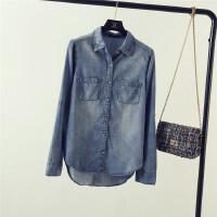 韩版潮女装修身修身前短后长薄款牛仔衬衫女长袖打底衬衣2018新品 蓝色 69091