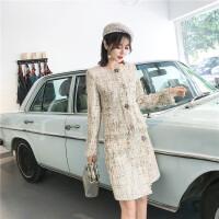 秋冬名媛小香风套装长袖外套包臀裙粗花呢两件套裙气质百搭礼服裙 图片色