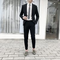 一套条纹西服套装男士修身韩版英伦风小西装青年上班外套新郎礼服 黑色 外套加裤子