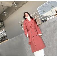 双面羊绒大衣女中长款2018新款冬季韩版流行赫本风西柚色毛呢外套 西柚色 S