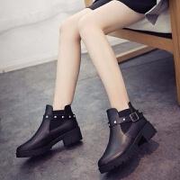 女短靴2019秋冬新款马丁靴百搭中跟女鞋韩版粗跟小皮靴学生加绒靴 黑色 单鞋F51-1 36