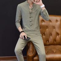 春季中国风立领男装亚麻套装男V领T恤中式盘扣棉麻长袖上衣两件套2018新品 M 80斤至100斤