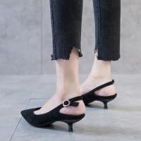 低跟单鞋女2019新款3CM尖头细跟黑色高跟鞋女猫跟伴娘鞋小跟单鞋夏季百搭鞋