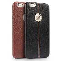 苹果iphone6s手机壳i6 plus真皮简约后盖外套5.5男保护套 5.5寸iPhone6 plus鹿皮纹棕色