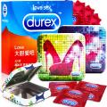 【杜蕾斯官方旗舰店】Durex 杜蕾斯 限量版*夏日炫彩铁盒+love3只装 安全套 避孕套 男用 情趣计生 成人用品