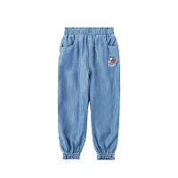 女童牛仔裤秋装儿童松紧运动裤中大童休闲小脚裤