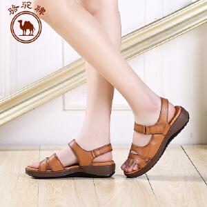 骆驼牌女鞋夏季新品女士真皮休闲凉鞋低帮平跟魔术贴女鞋子