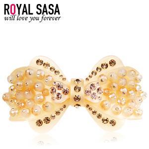 皇家莎莎RoyalSaSa头饰韩版时尚饰品人造水晶发卡蝴蝶结马尾发夹顶夹发饰-钻点珠蝶