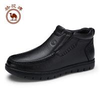 骆驼牌男靴 新品真皮柔软套脚保暖男皮靴子耐磨高帮男鞋