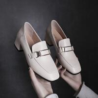 大东同款单鞋女2019新款女鞋春季百搭时尚方头粗跟一脚蹬两穿英伦风小皮鞋