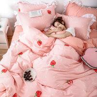 网红款床上四件套纯棉全棉床裙宿舍三件套公主风少女被套床单