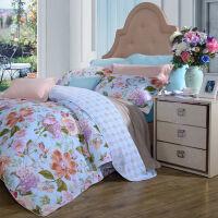 [当当自营]富安娜家纺 四件套纯棉斜纹花卉床品双人被套套件 新品 那些花儿 蓝色 1.5米(5英尺)床
