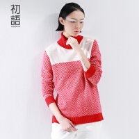初语冬季新品个性撞色高领套头长袖羊绒毛衣女8540423035