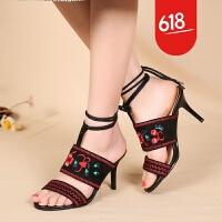 民族风凉鞋波西米亚度假休闲女鞋高跟细跟鱼嘴系带绣花鞋GH06601