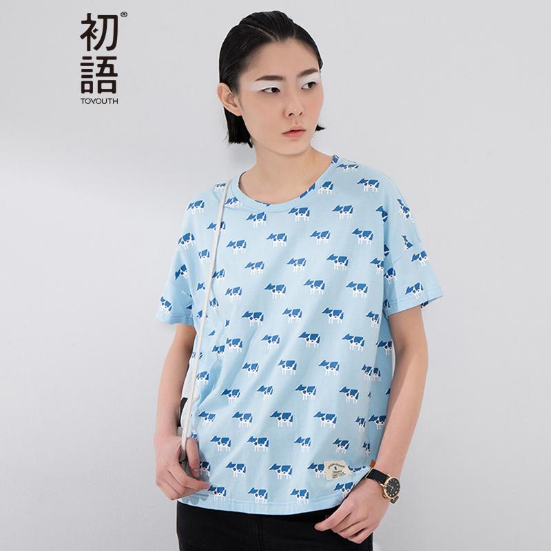 初语 夏季新品 奶牛卡通印花圆领短袖T恤女8620*1061C