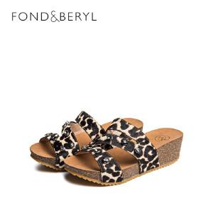 【3折到手价125.7元】Fondberyl/菲伯丽尔夏坡跟一字拖淑女凉拖鞋休闲女鞋FB62113755