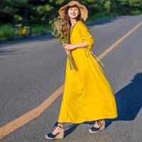 棉麻连衣裙女2018秋季新款圆领套头黄色长袖宽松文艺大摆系带长裙GH28 黄色 均码