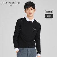 太平鸟男装 男士新款秋冬韩版刺绣点缀毛衫圆领套头时尚潮流毛衣