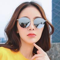 网红同款墨镜女复古潮无边框沙滩偏光太阳镜圆脸眼镜