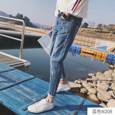 牛仔裤男秋冬款加绒韩版潮流修身小脚男士宽松直筒休闲裤子九分裤