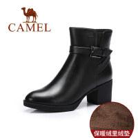 camel 骆驼女靴 秋冬短靴休闲简约中筒靴舒适女靴粗跟靴